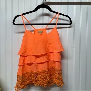 Takara Neon Orange  Ruffle Tank Size Small